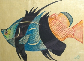 Fishes on Handmade Paper-13