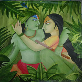 Radha  and  Krishna  Sitting  with  background  of  leaves