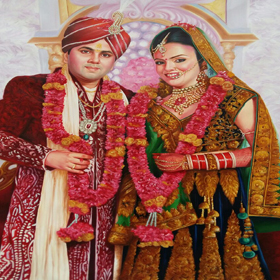 potrait  of  groom  and  bride  on  canvas