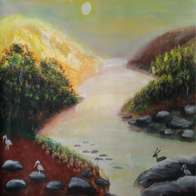landscape-2   on  canvas  in  acrylic  paints