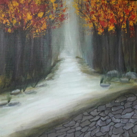 landscape-4   on  canvas  in  acrylic  paints