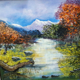 landscape-5   on  canvas  in  acrylic  paints