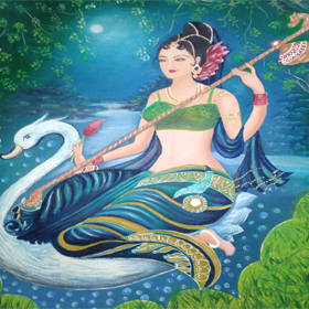 saraswati  mata  in  oil  and acrylic  paints