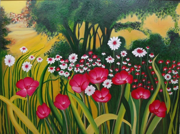 Garden   on   canvas  in  oil  paints
