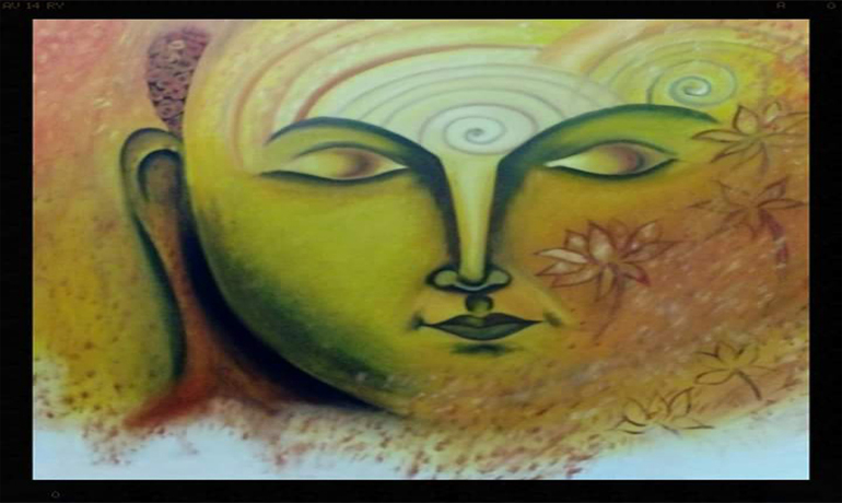 BUDDHA     ON     CANVAS  IN  OIL   PAINTS